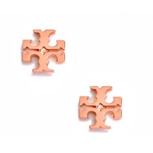 TORY BURCH • Rose Gold Logo Stud Earrings